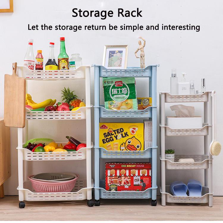Three-layer Four-layer Plastic Storage Rack with Wheel Storage Shelf