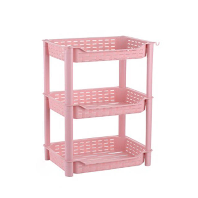 Three-layer Four-layer Plastic Storage Rack with Wheel Storage Shelf