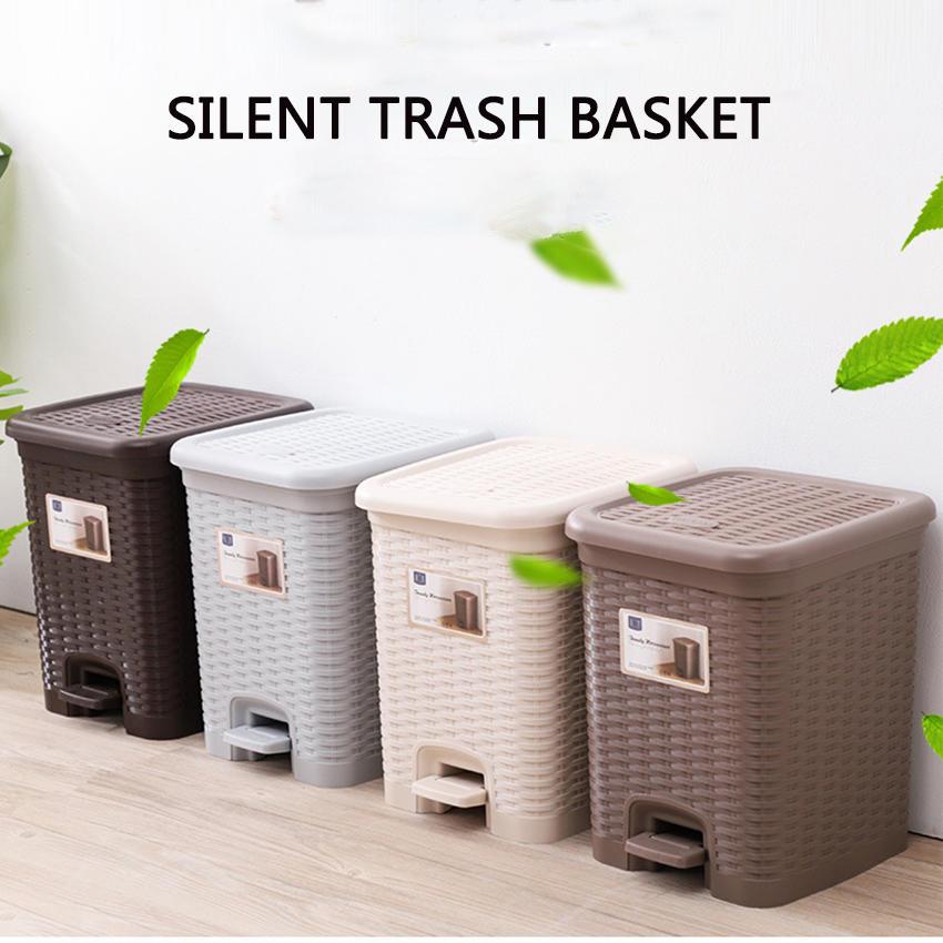 Plastic Slow-down Silent Trash Basket Rattan Weave Trash Can