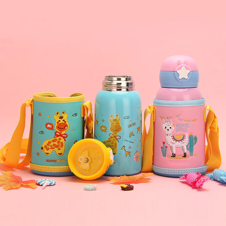 Cute Pattern Plastic Water Bottle 304+201#Stainless Steel Embroidered Cup Set