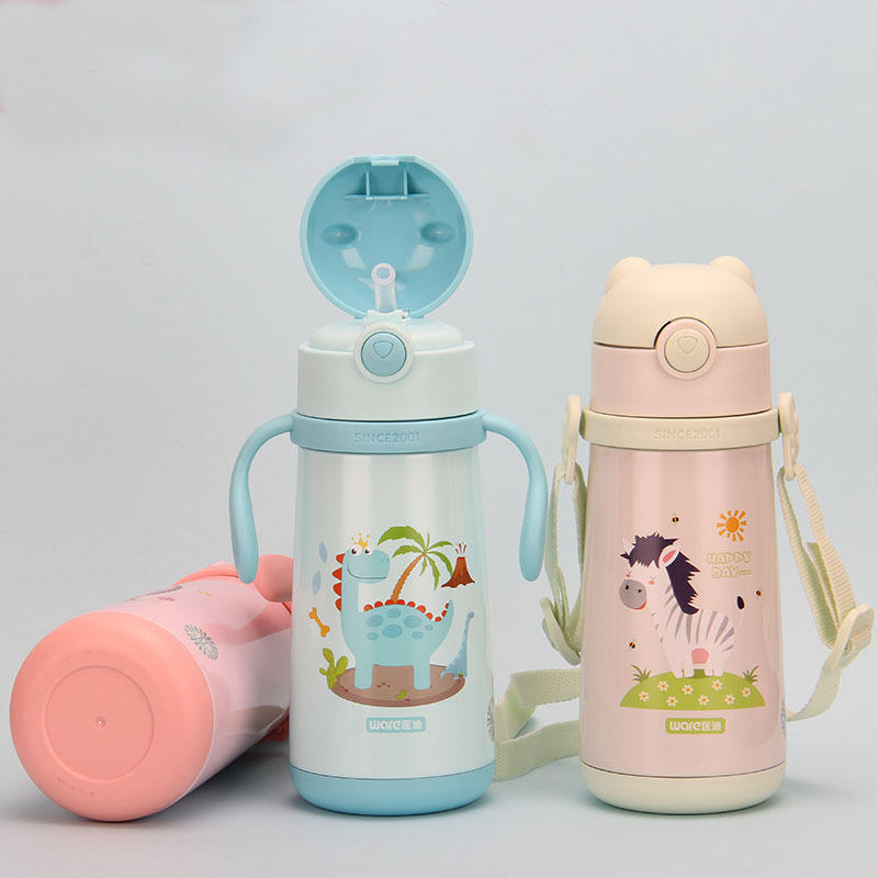 316+201 Stainless Steel Plastic Water Bottle Cute Pattern