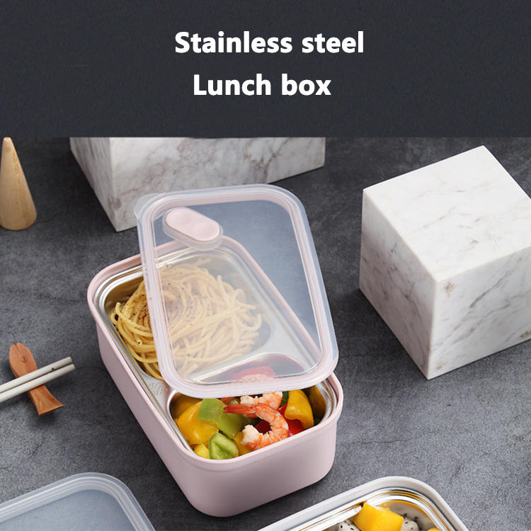 304# Stainless Steel Lunch Box Portable Plastic Bento Box