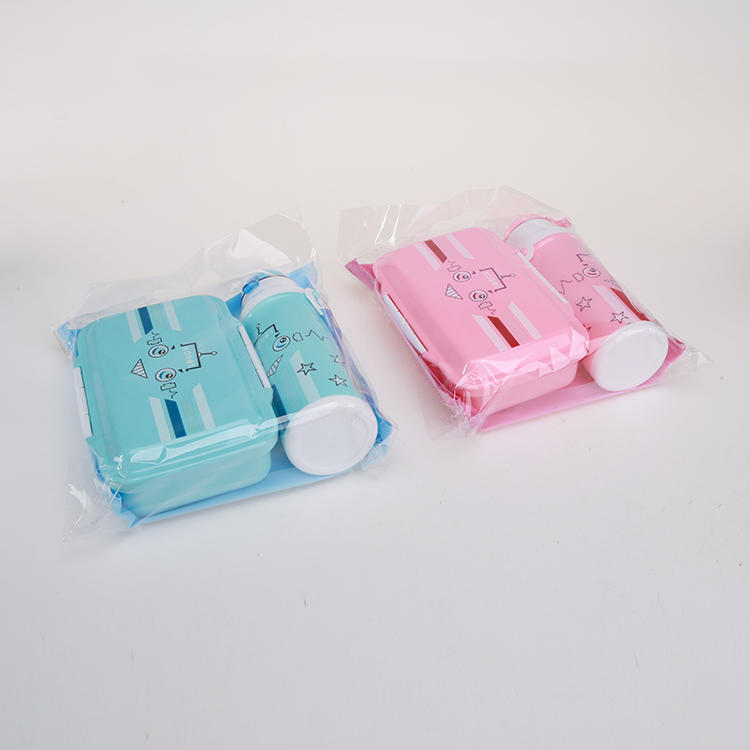Plastic 750ml Lunch Box & 350ml Water Bottle Set