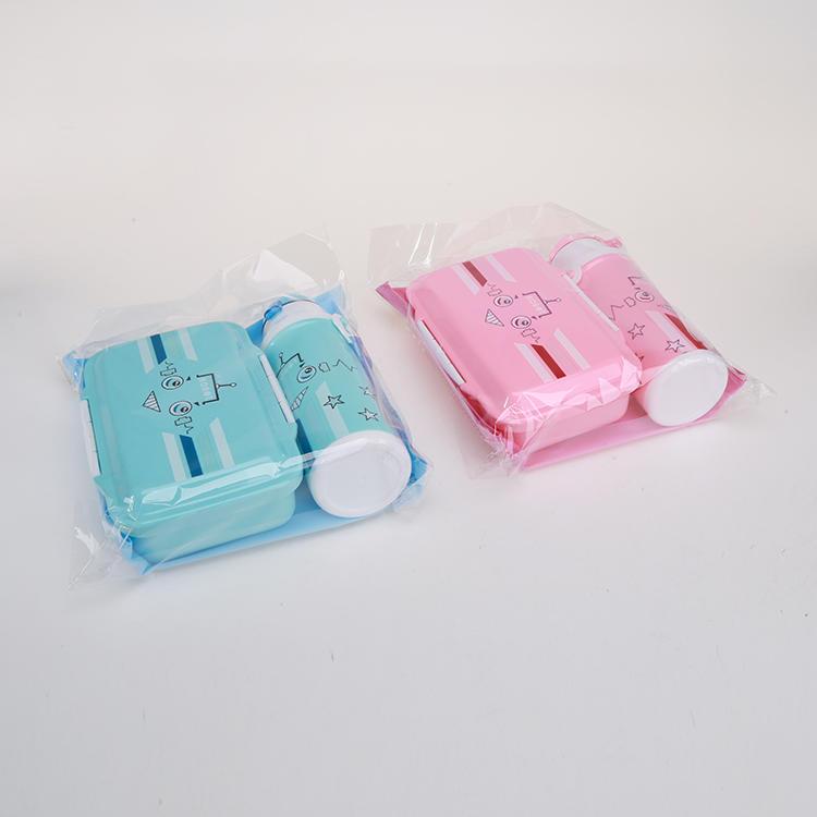 Plastic 750ml Lunch Box & 350ml Water Bottle Set