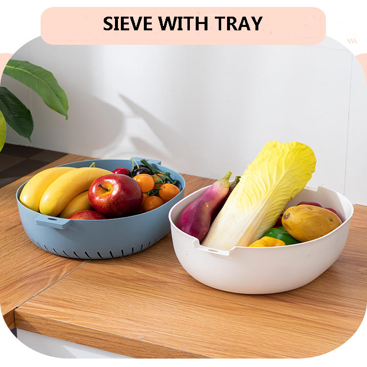 Sieve and Tray Plastic Kitchen Strainer Has Three Sizes