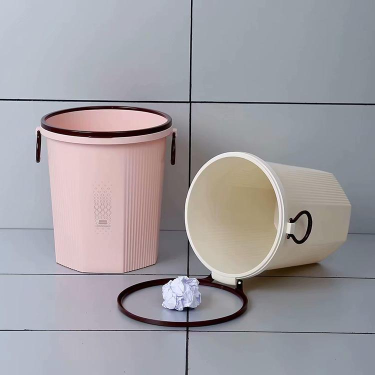 Round Trash Can with Trash Bag Buckle Trash Bin