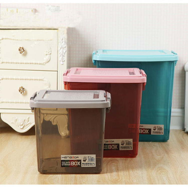 Plastic Three Colors Three Capacities Storage Box with Lid