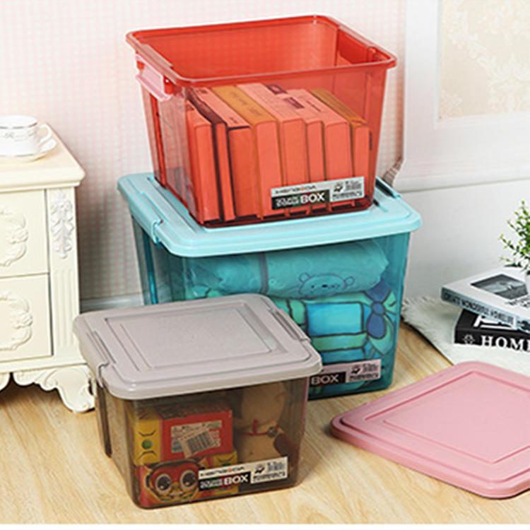 Plastic Three Colors Three Capacities Storage Box with Lid