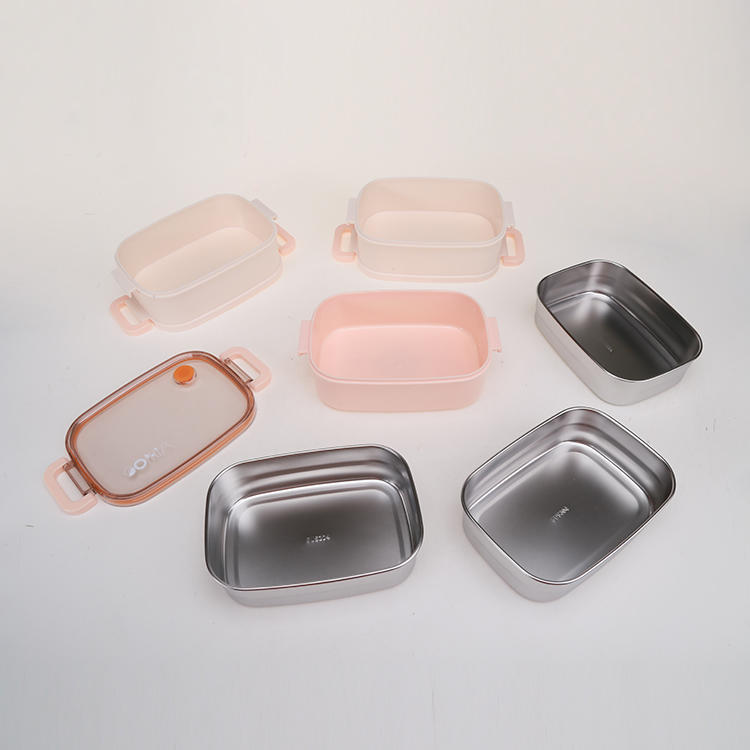 Plastic, Stainless Steel and Bamboo Fiber Lunch Box