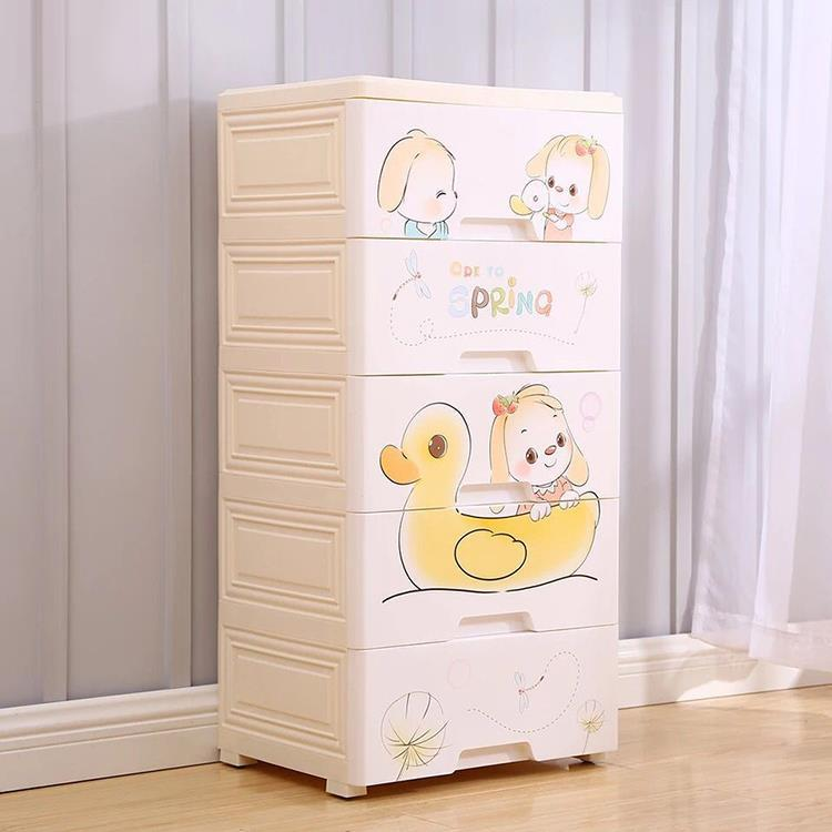 Plastic Roller Wheel Storage Cabinets with Five Sizes