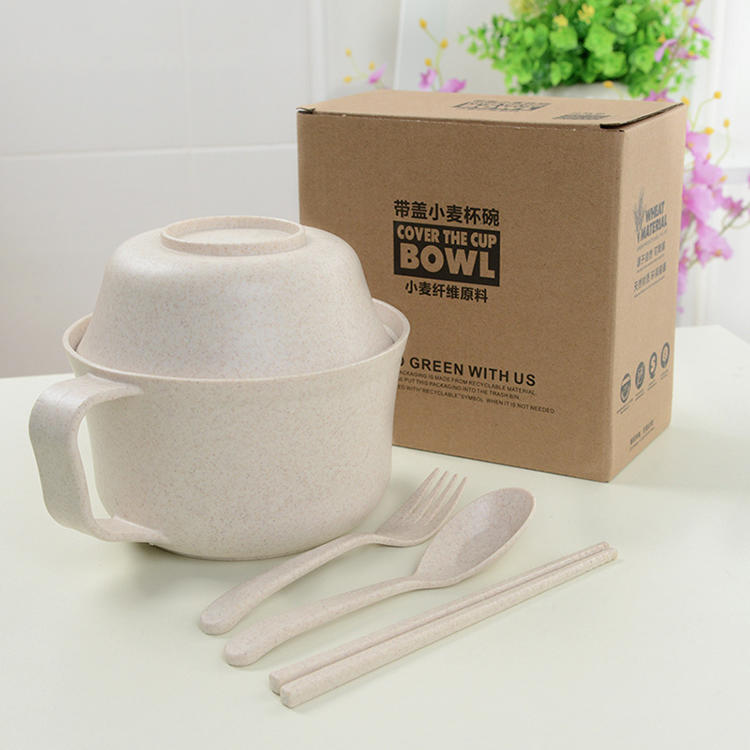Wheat Straw Instant Noodle Bowl with Cutlery Small Bowl