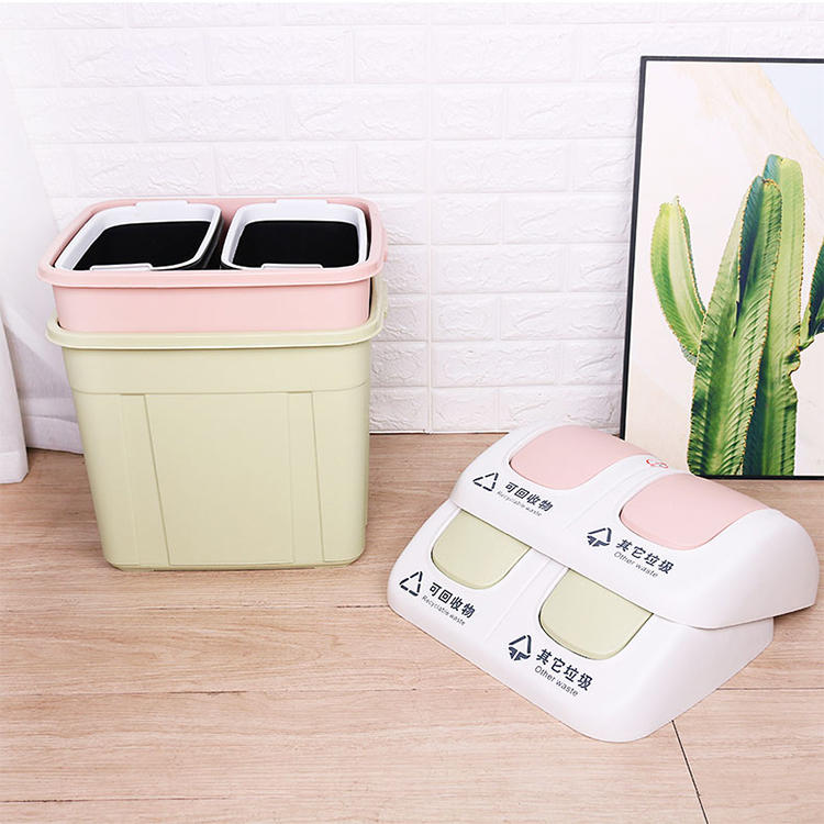 Classified Dustbin with Two Colors Plastic Sorting Waste Bin