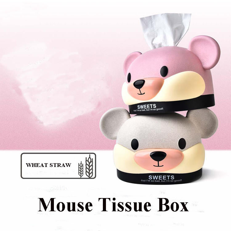 Wheat Straw Mouse Tissue Box Plastic Napkin Box