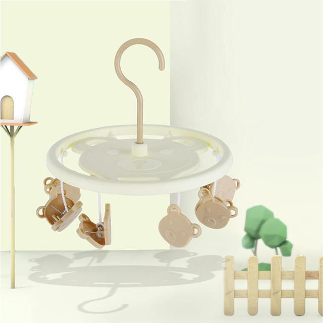 Plastic Bear Round Children Hanger with 8 Pegs