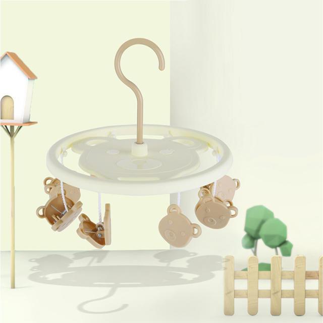 Plastic Bear Round Children Hanger with 8 Pegs