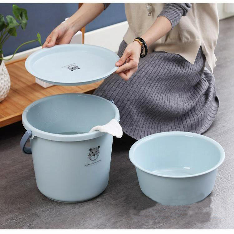 3 PCS Plastic Bucket, Bathroom Washbasin, Lid