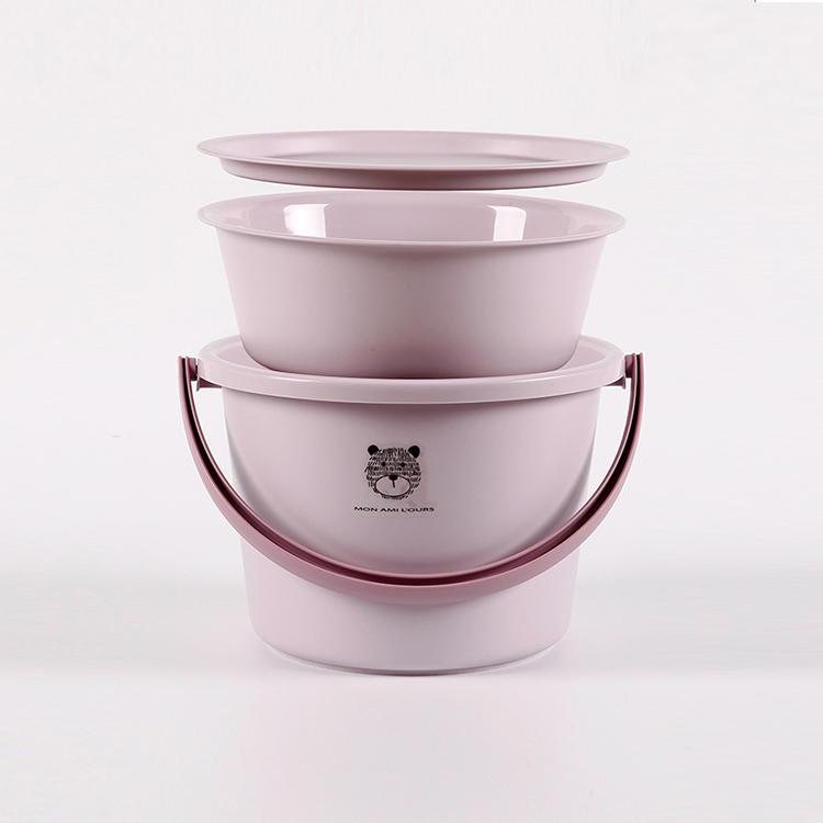 3 PCS Plastic Bucket, Bathroom Washbasin, Lid