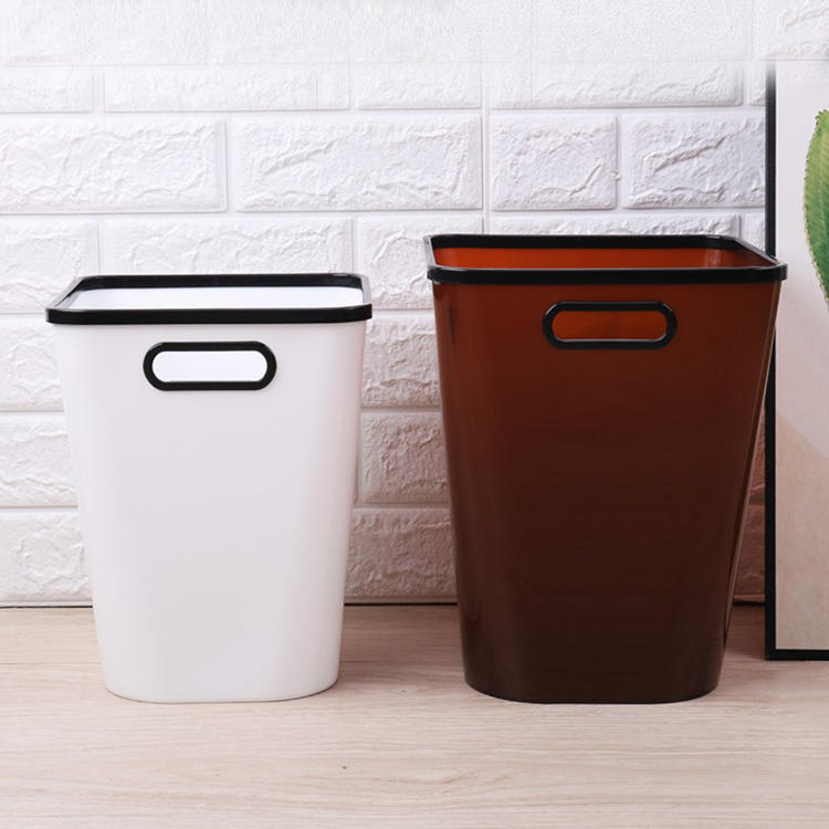 Plastic Simple Double Color Trash Can Two Sizes Waste Bin