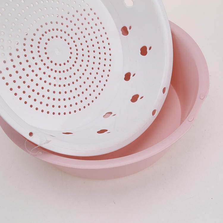 Two Sizes Plastic Drain Sieve with Tray Kitchen Strainers