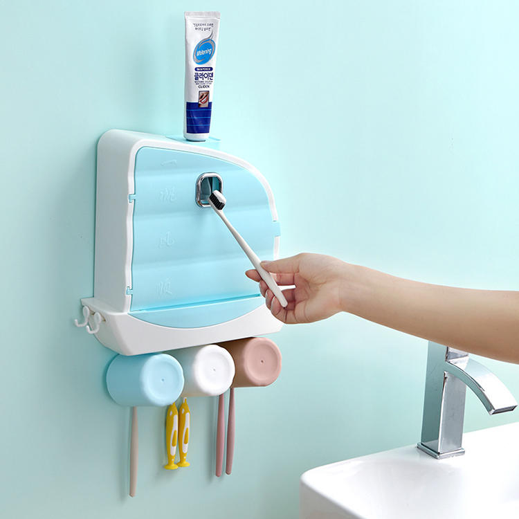 Multifunctional Toothbrush Holder and Toothpaste Squeezer with 3 Cups