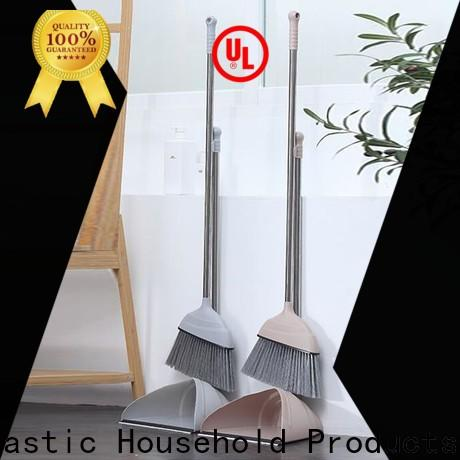 small broom and dustpan & household plastic containers