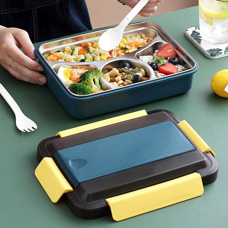 Three Colors Bento Box  Wholesale 304# Stainless Steel Lunch Box