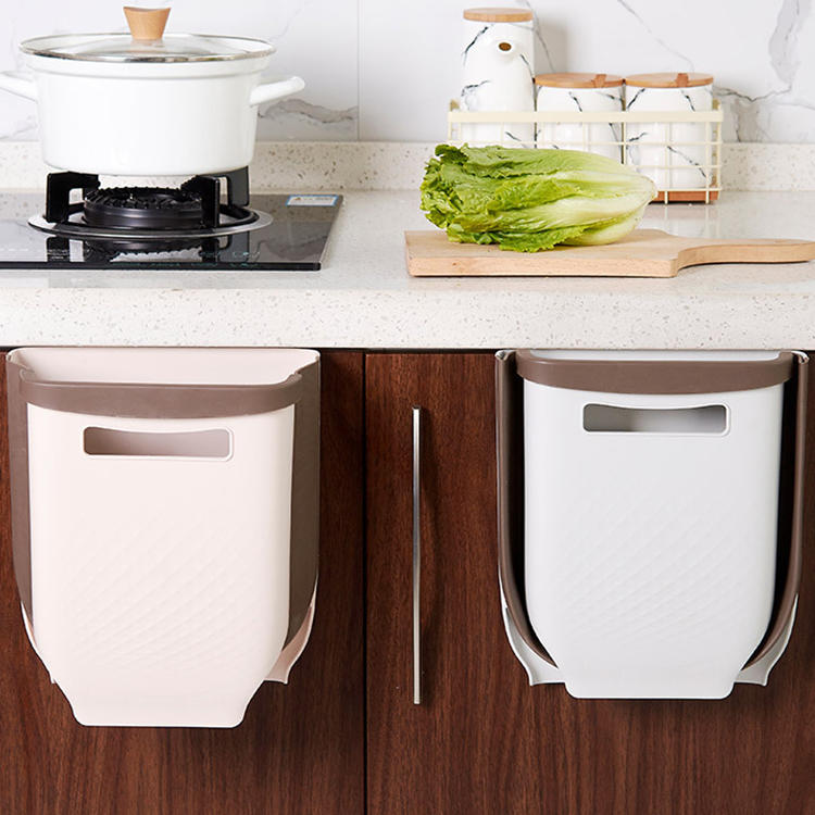 Wall-mounted Folding Trash Can Wholesale Plastic Waste Bin in Kitchen