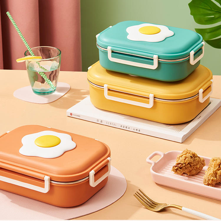 Cute poached egg shape 304#stainless steel lunch box keep temperature