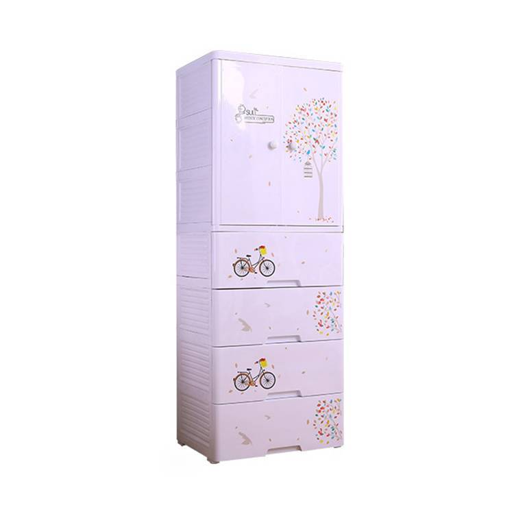 Artistic Conception Series DIY Assembled Two Doors Plastic Drawer Cabinet
