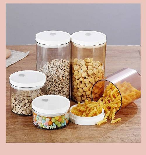 PLASTIC SEALED CANISTER 300ML 600ML 900ML 1300ML SEALING CAN