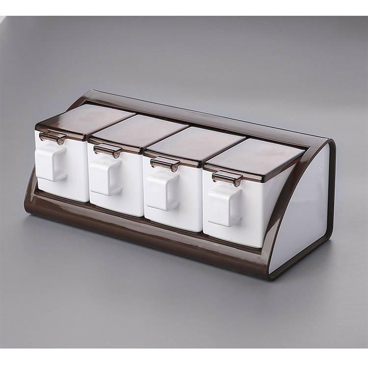 4pcs Sticky Wall Design Plastic Kitchen Condiment Storage Jar Container  Set