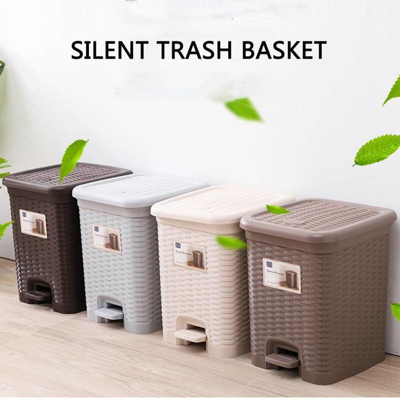 Plastic Slow-down Silent Trash Basket Rattan Weave Trash Can