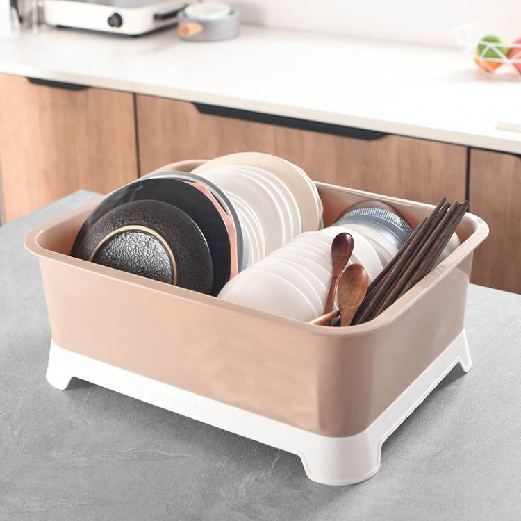 Plastic Cupboard with Strainer and Lid Dish Drainer Holder