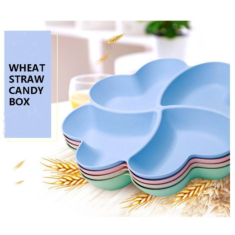 Clover Love Shape Candy Plate Wheat Straw Candy Box