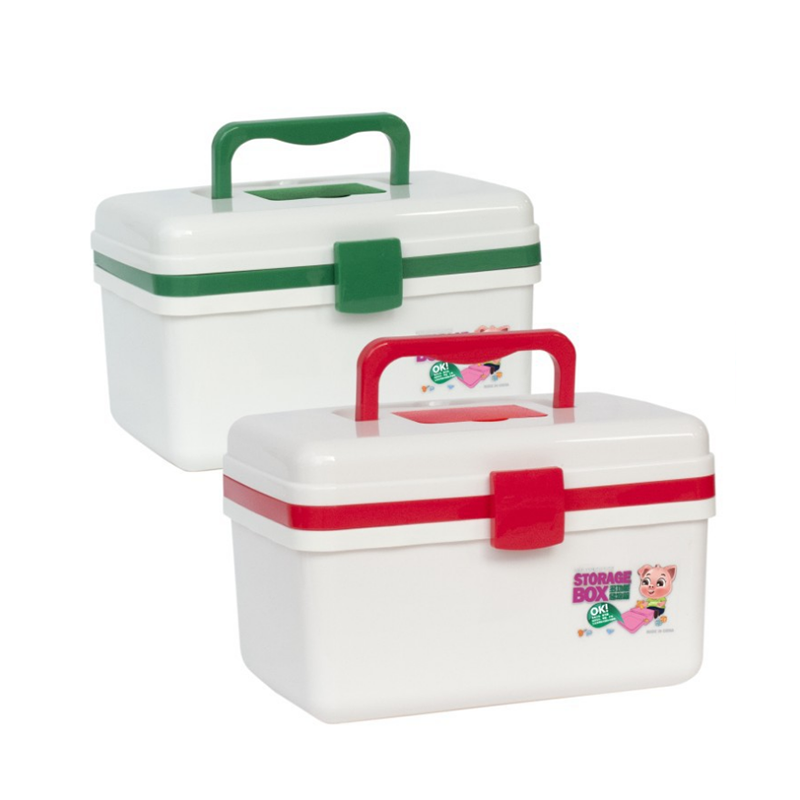 Red green first aid container bin/family emergency kit storage box