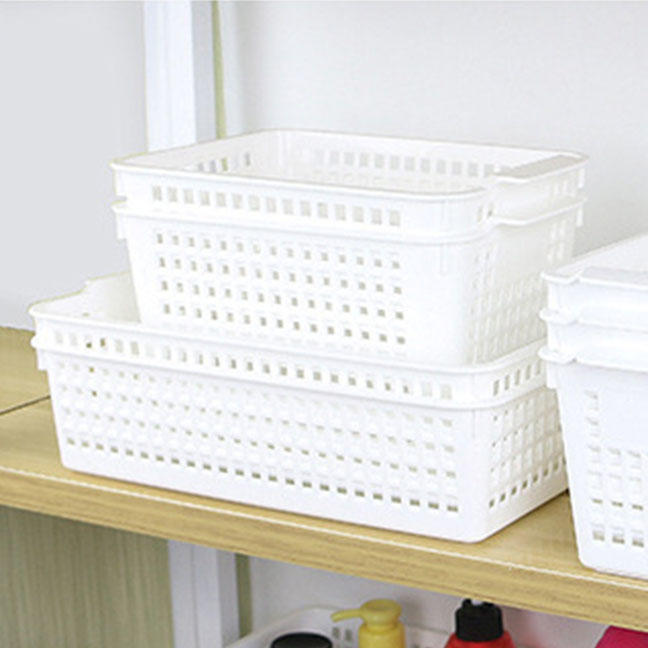 Plastic storage basket organizer,various size multifunction white stackable storage organization basket