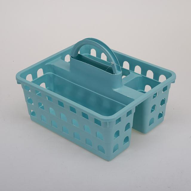 PP material basket with 3 compartments with comfy grip handle plastic storage baskets