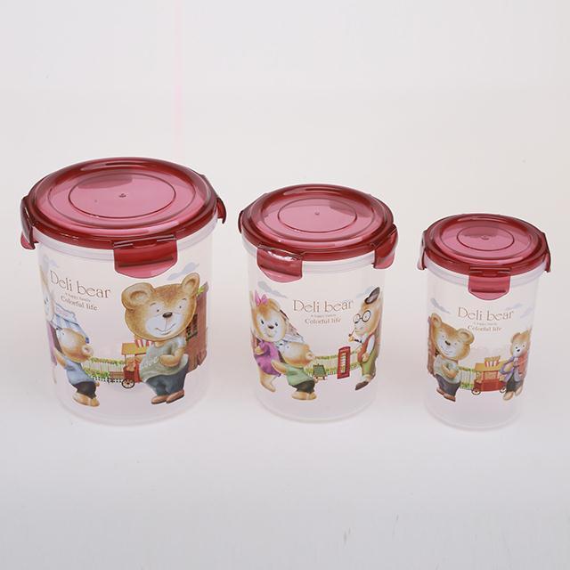 3PCS PP material microwavable food airtight box set