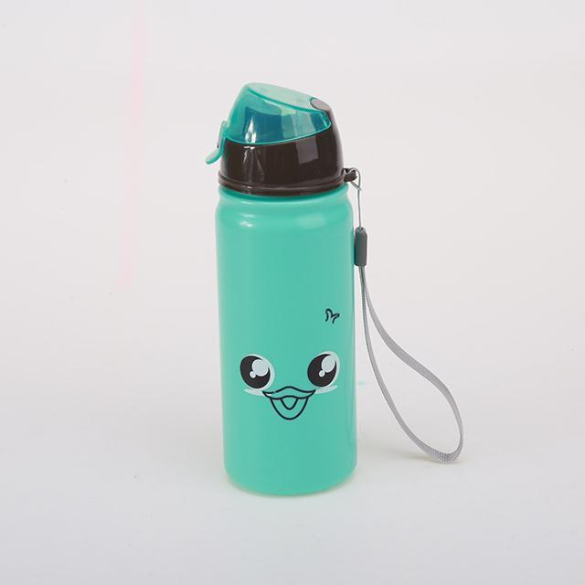 Eco-friendly kid drinking cartoon water bottles BPA free plastic straw bottle
