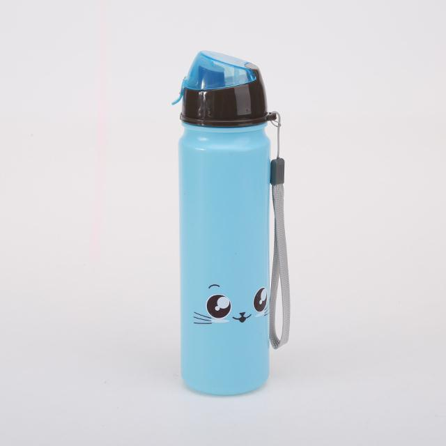 Eco-friendly kid drinking cartoon water bottles BPA free plastic straw bottle
