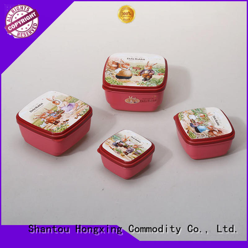 Japanese style plastic food storage container set in different colors for snack
