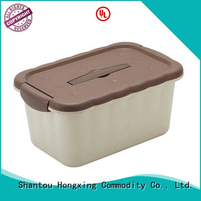 HongXing shape plastic storage boxes with wheels great practicality for snack