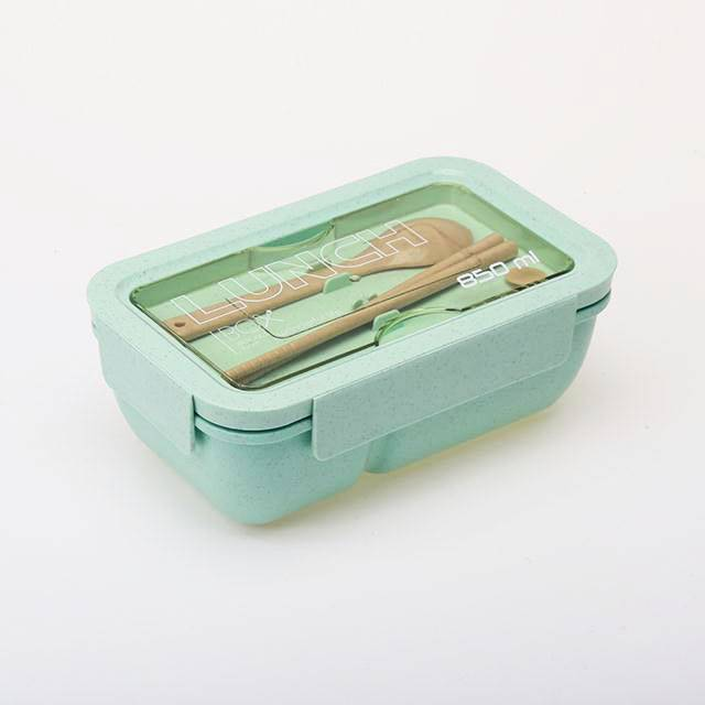 Wheat straw material microwavable bento style lunch box with spoon and chopsticks