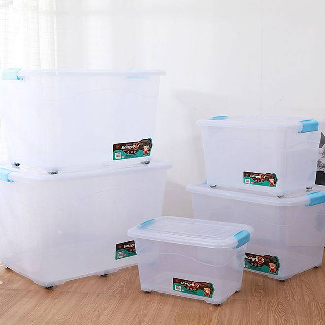 HX0030461 Clear Plastic Storage Box with Wheels 30L, 40L, 70L, 120L, 180L