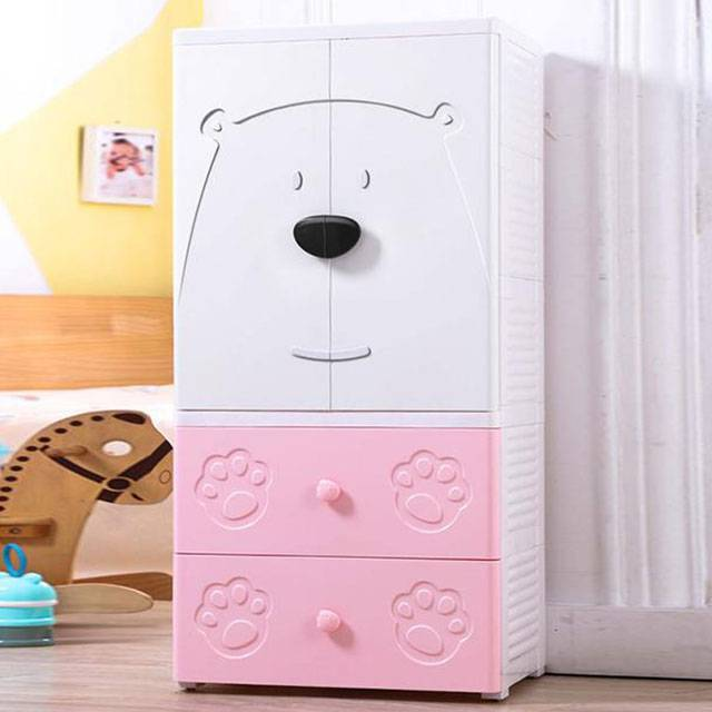 3 4 5 Layer double door open baby plastic storage cabinet wardrobe