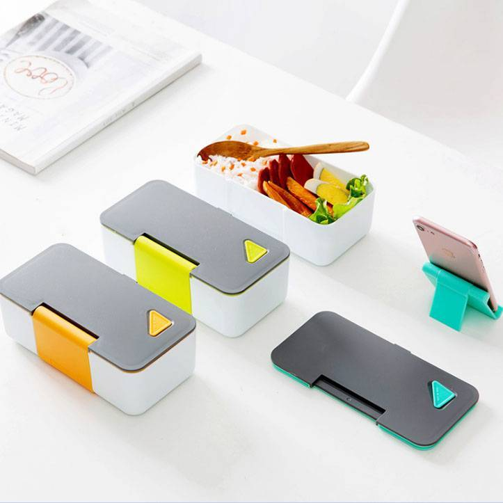 Japanese style microwave phone stand lunch box for adult student used plastic bento lunch box