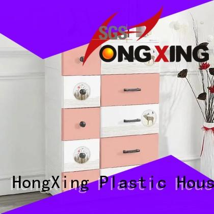 HongXing Cute plastic drawer cabinet open for storage toys